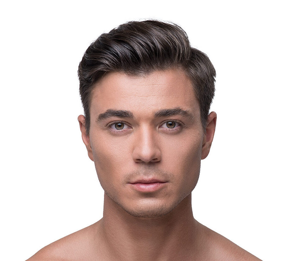Male face, Asian Blepharoplasty - front view