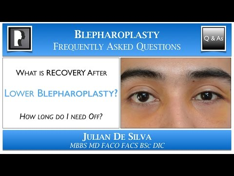 Watch Video: What is Recovery from Lower Blepharoplasty? How long will I need off work after an eyelid lift?
