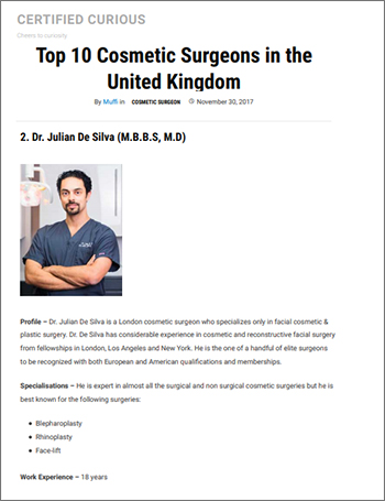 Certified Curious - Top 10 Cosmetic Surgeons in the United Kingdom