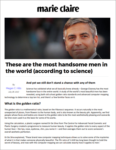 Article: Marie Claire - These are the most handsome men in the world (according to science)