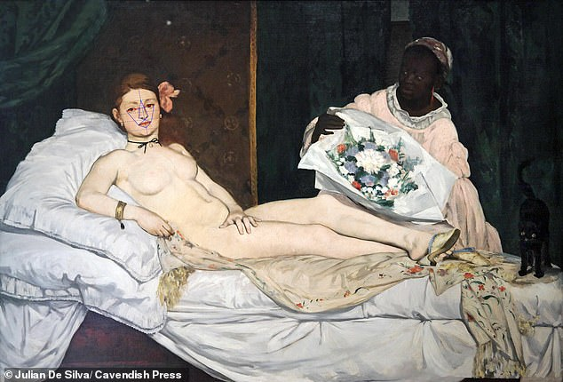 Fifth place went to the reclining woman in the 1863 work Olympia by Edouard Manet with 85.4 per cent. She scored well for her lips and brow area